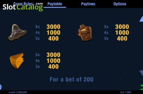 Paytable 2. Alm Gaudi (Video Slots from Swintt)