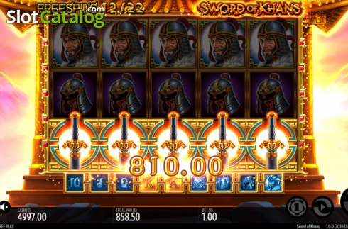 Win Screen 2. Sword Of Khans (Video Slots from Thunderkick)