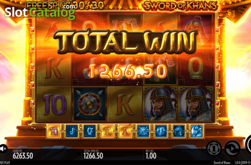Total Win. Sword Of Khans (Video Slots from Thunderkick)