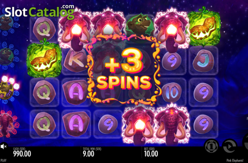 Free spins retrigger. Pink Elephants (Video Slot from Thunderkick)