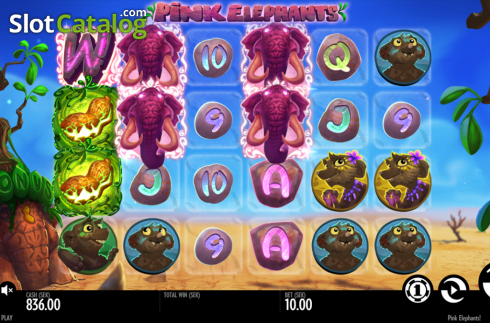 Reels screen. Pink Elephants (Video Slot from Thunderkick)