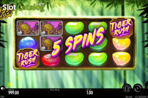 Free spins win screen. Tiger Rush (Video Slot from Thunderkick)