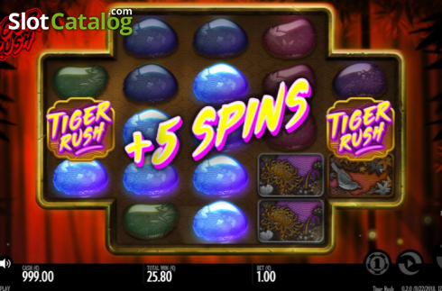 Free spins screen. Tiger Rush (Video Slot from Thunderkick)