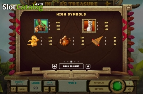 Paytable 1. Inca's Treasure (Video Slot from Tom Horn Gaming)