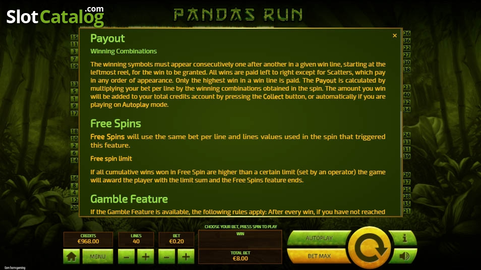Panda's Run Slot Review, Bonus Codes & where to play from United Kingdom