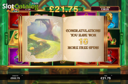 Skjerm7. Book of Oz (Video Slot fra Triple Edge Studios)