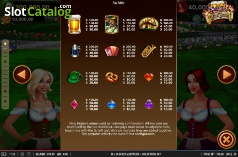 Paytable. Heidi and Hannah's Bier Haus (Video Slots from WMS)