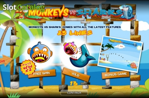 Monkeys vs Sharks HD (Ranura de video de World Match)