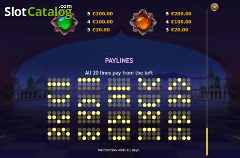 Paylines. Sahara Nights (Video Slot from Yggdrasil)