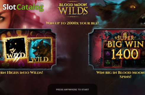 Start Screen. Blood Moon Wilds (Video Slots from Yggdrasil)
