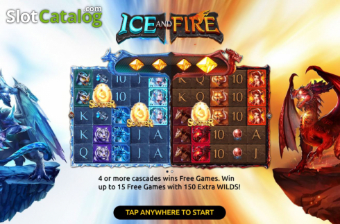 Start Screen. Ice and Fire (Video Slots from Dream Tech)