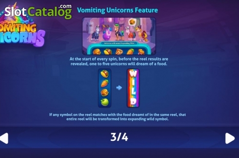 Features. Vomiting Unicorns (Video Slot from Gluck Games)