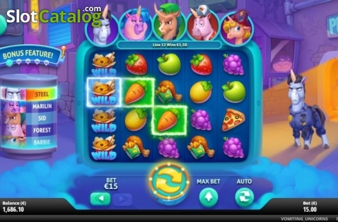 Feature 2. Vomiting Unicorns (Video Slot from Gluck Games)