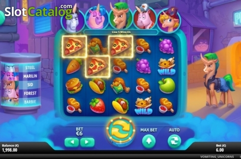 Win Screen 1. Vomiting Unicorns (Video Slot from Gluck Games)