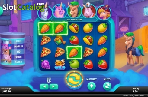Win Screen 2. Vomiting Unicorns (Video Slot from Gluck Games)