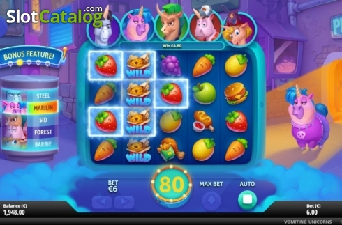 Win Screen 3. Vomiting Unicorns (Video Slot from Gluck Games)