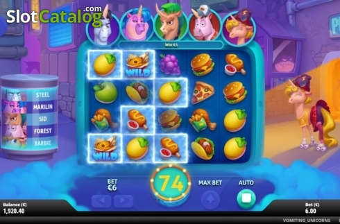 Win Screen 4. Vomiting Unicorns (Video Slot from Gluck Games)