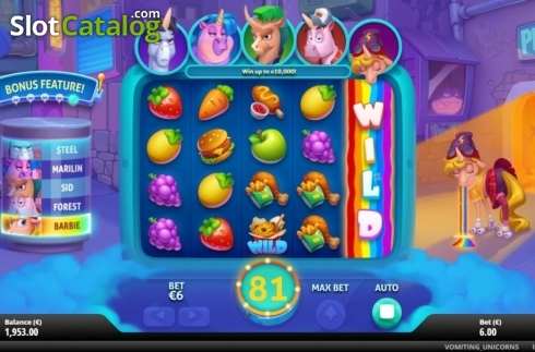 Feature 1. Vomiting Unicorns (Video Slot from Gluck Games)