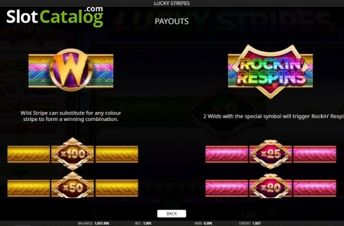 Paytable 1. Lucky Stripes (Video Slot from iSoftBet)