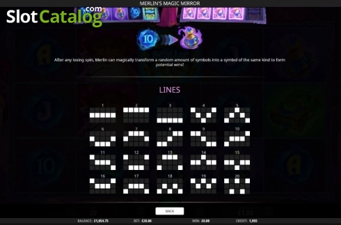 Paylines. Merlin's Magic Mirror (Video Slot from iSoftBet)