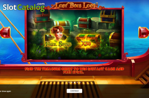 Start Screen. Lost Boys Loot (Video Slots from iSoftBet)