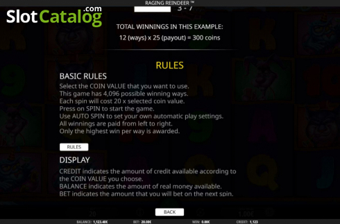 Game Rules. Raging Reindeer (Video Slot from iSoftBet)
